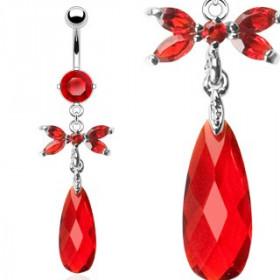 Piercing nombril Marquise Papillon pendentif rouge