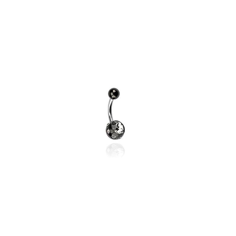 Piercing multicristaux couleur blanc blackline en acier chirurgical noir