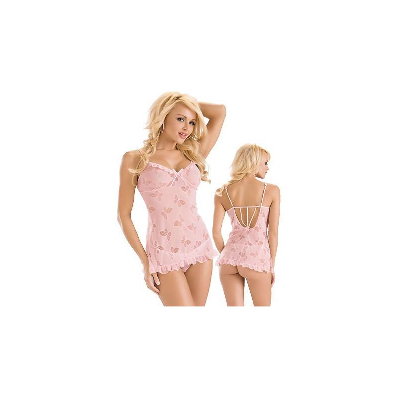 Nuisette sexy rose Papillons sous vêtement femme glamour ensemble string et nuisette