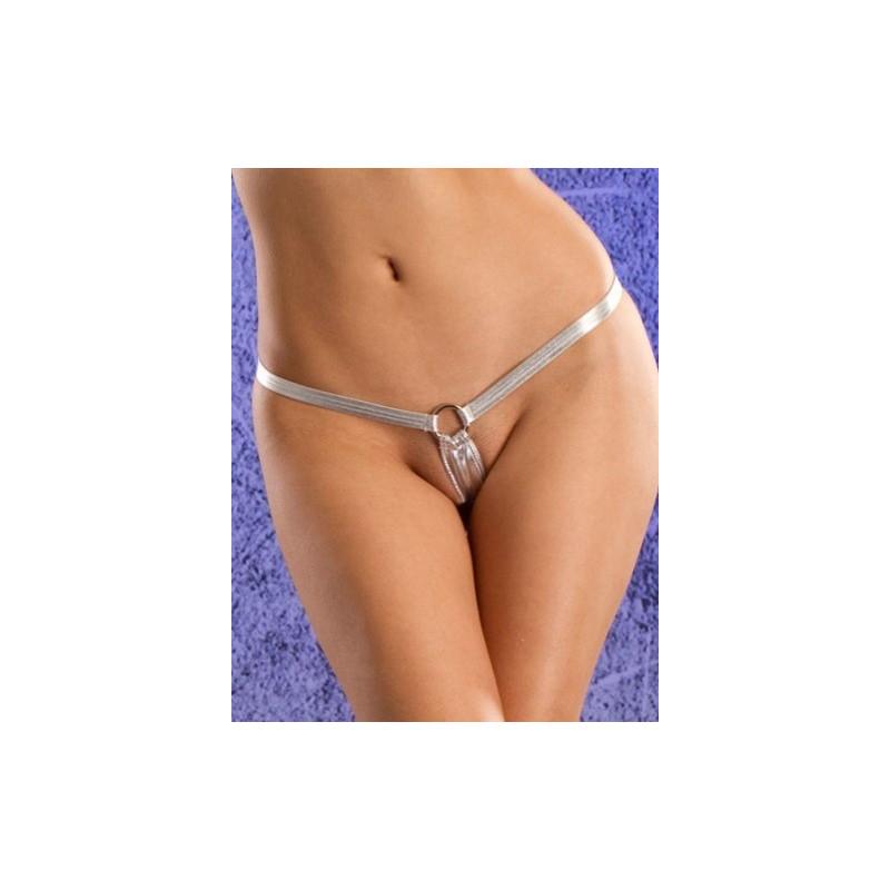 String sexy vinyle argent sous vêtement sexy pour femme marque Tarawa