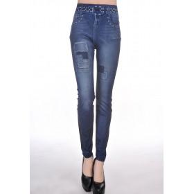 leggings femme imitation jeans couleur bleu et blanc pas cher