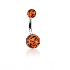 Piercing nombril bille orange Fluo motif léopard barre en acier chirurgical