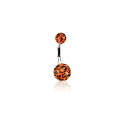 Piercing nombril orange Fluo léopard