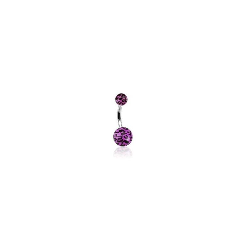 Piercing nombril bille violet Fluo motif léopard barre en acier chirurgical