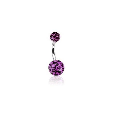 Piercing nombril violet Fluo motif léopard