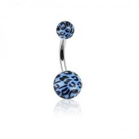 Piercing nombril bille bleu Fluo motif léopard barre en acier chirurgical