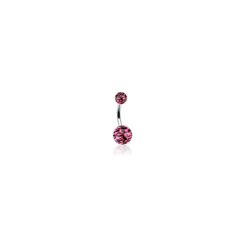 Piercing nombril bille rose Fluo motif léopard barre en acier chirurgical
