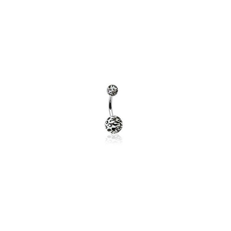 Piercing nombril bille blanc et noir motif léopard barre en acier chirurgical
