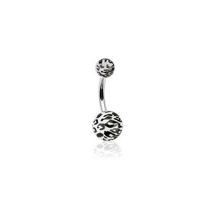 Piercing nombril blanc motif léopard