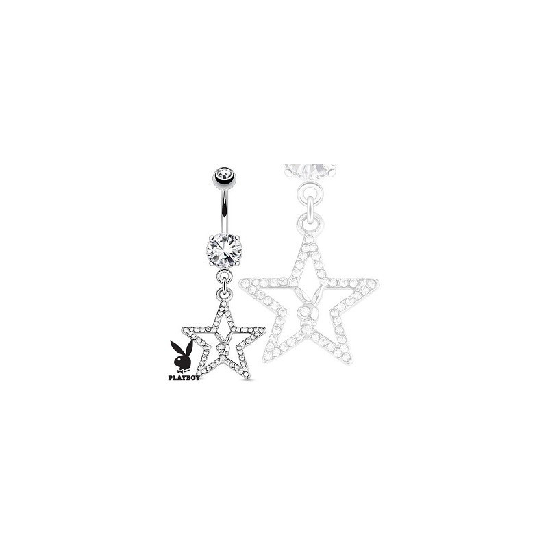 Piercing nombril pendentif marque Playboy motif étoile cristal blanc