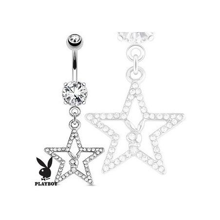 Piercing nombril Playboy motif étoile cristal