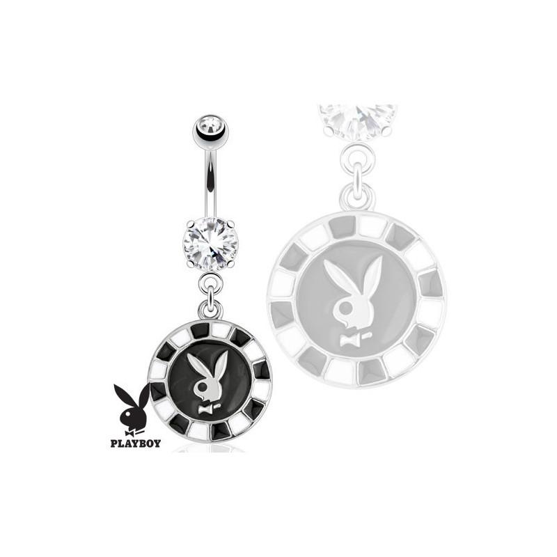 Piercing nombril pendentif marque playboy jeton casino
