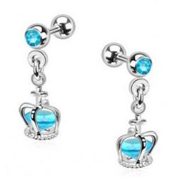 Piercing oreille pendentif couronne bleu