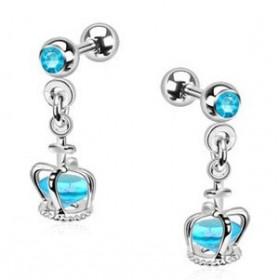 Piercing oreille tragus hélix et cartilage pendentif couronne cristal bleu turquoise piercing princesse