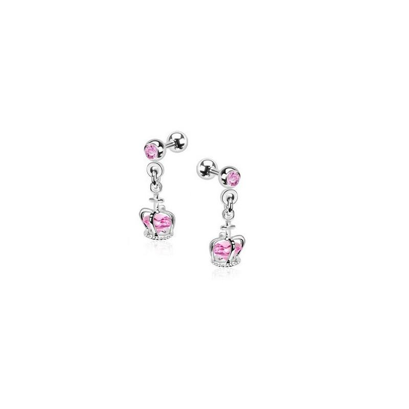 Piercing oreille tragus hélix et cartilage pendentif couronne cristal rose piercing princesse