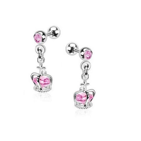 Piercing oreille pendentif couronne cristal rose