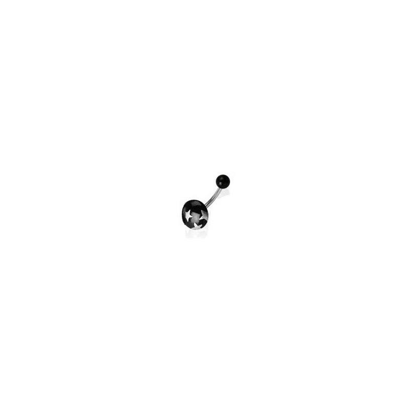 Piercing nombril bille bouton de couleur noir motif étoile