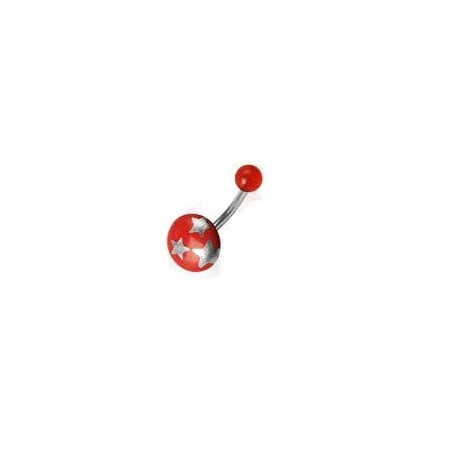 Piercing nombril bouton rouge motif étoile
