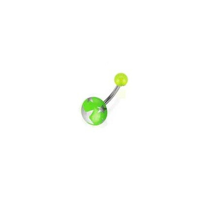 Piercing nombril bouton vert motif étoile