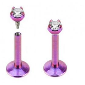 Piercing de lèvre labret Anodisé titane anodisé de couleur violet micro cristal