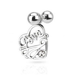Piercing oreille pendentif coeur love