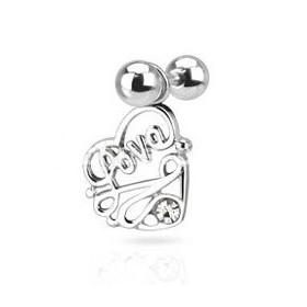 Piercing oreille pendentif love en forme de coeur couleur acier