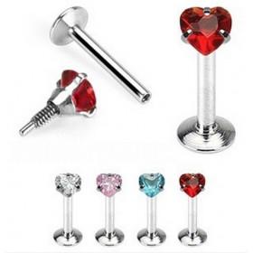Piercing labret coeur acier chirurgical cristal motif coeur rouge pour la lèvre