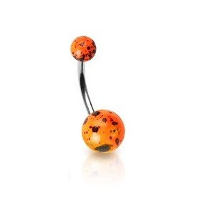 Piercing nombril orange Fluo motif splash barre en acier chirurgical et bille fluoréscente