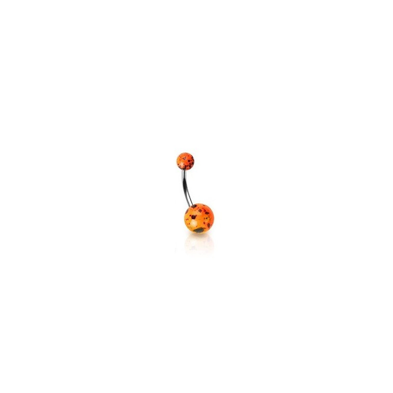Piercing nombril orange Fluo motif splash barre en acier chirurgical et bille fluoréscente