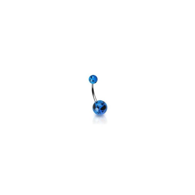 Piercing nombril bleu Fluo motif splash barre en acier chirurgical et bille fluoréscente