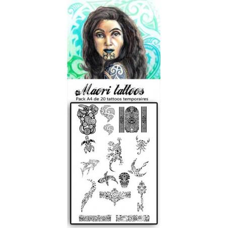 Pack 20 tatouages temporaires polynesiens et Maori 02
