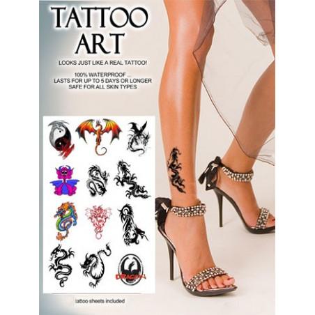 Tatouages temporaires Dragons A4