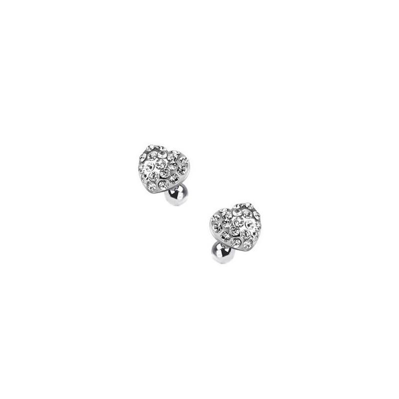 Piercing oreille hélix tragus cartilage motif coeur strass de couleur blanc