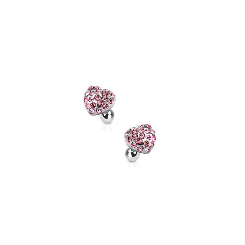 Piercing oreille hélix tragus cartilage motif coeur strass de couleur rose