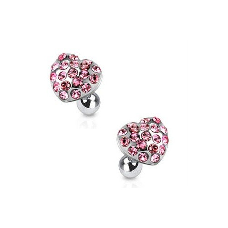 Piercing oreille cartilage motif coeur strass rose