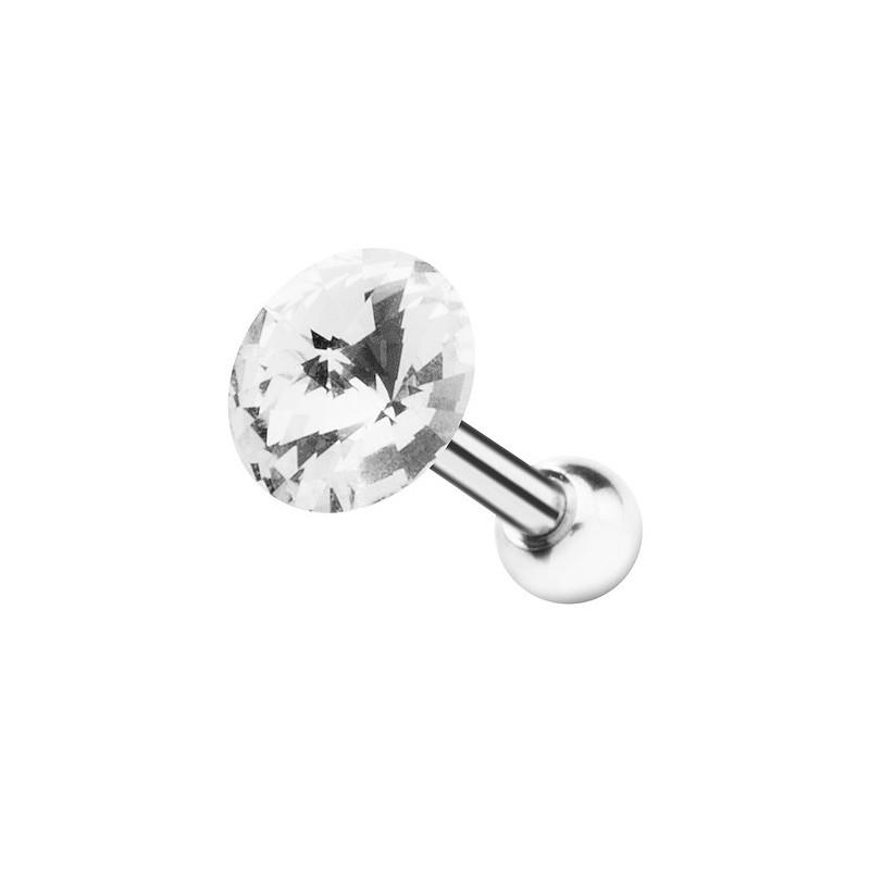 Piercing oreille tragus cristal 5 mm de couleur blanc diamant pour piercing hélix et cartilage