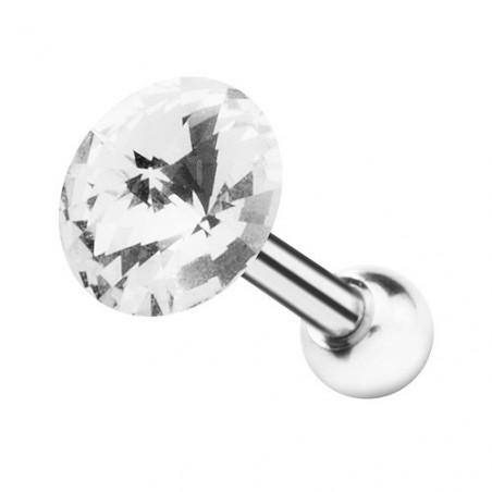Piercing oreille tragus cristal 5 mm blanc