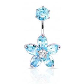 piercing nombril acier chirurgical double motif fleur en cristal couleur bleu turquoise