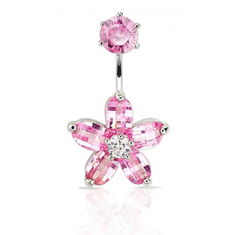 piercing nombril acier chirurgical double motif fleur en cristal rose