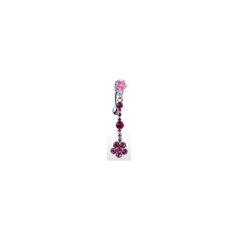 Piercing nombril inversé long pendent motif étoile et fleur cristal de couleur rose
