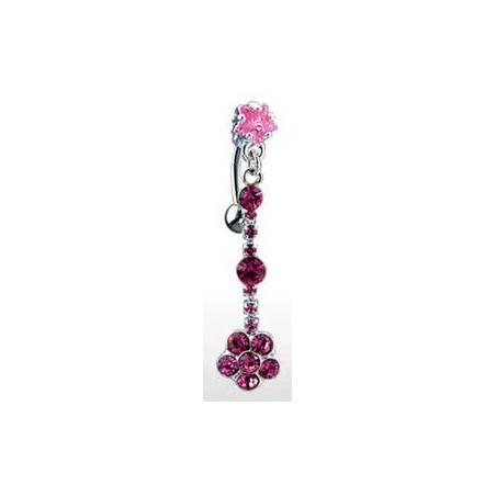 Piercing nombril Cristal rose fleur inversé
