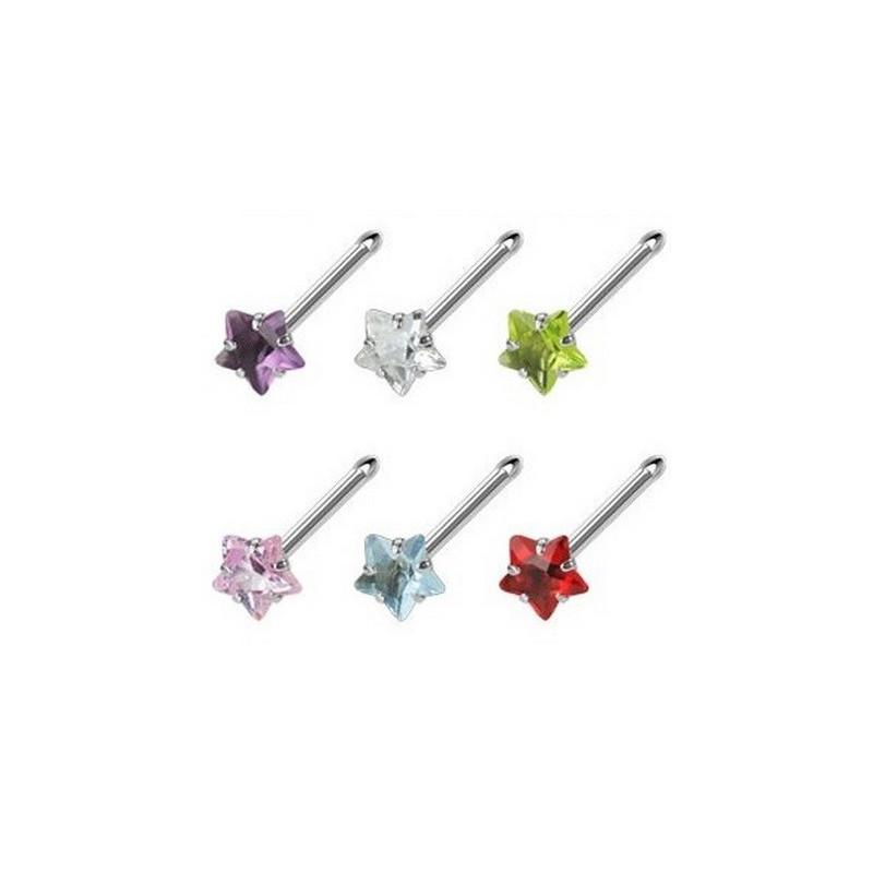 Piercing nez barre droite motif étoile cristal de couleur