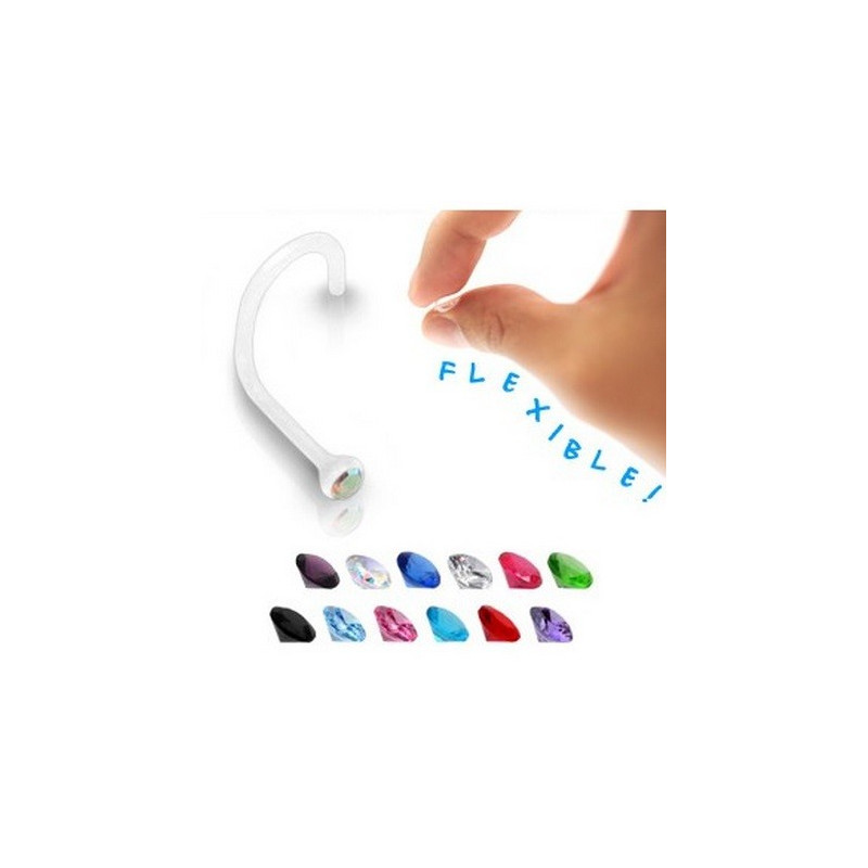 Piercing nez bioflex flexible tige courbé cristal discret de 2 mm