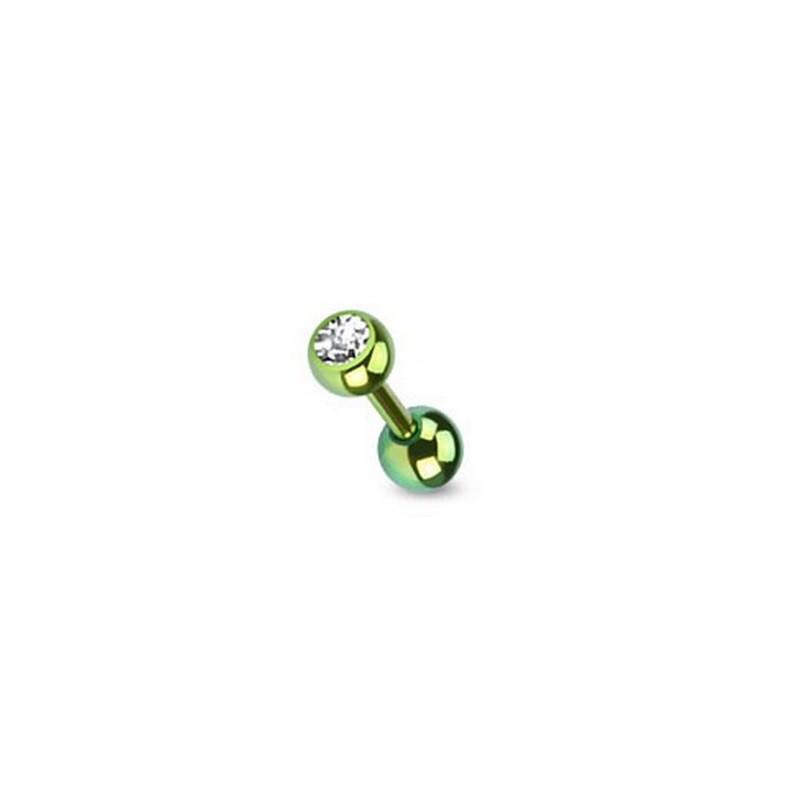 piercing oreille cristal blanc titane anodisé couleur vert