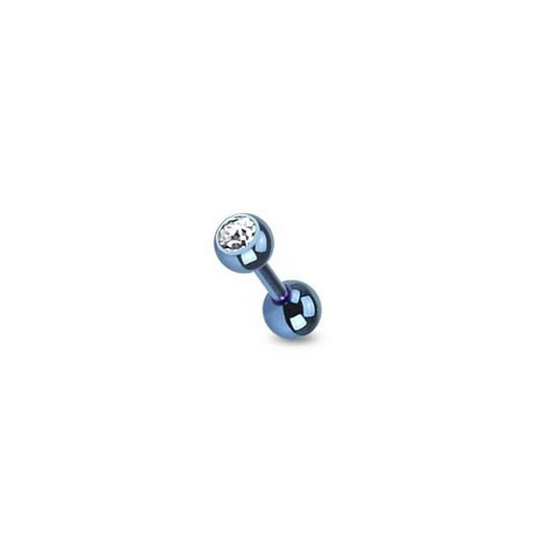 piercing oreille cristal blanc titane anodisé couleur bleu
