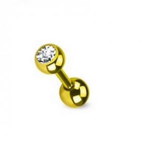 piercing oreille cristal blanc titane doré anodisé couleur or
