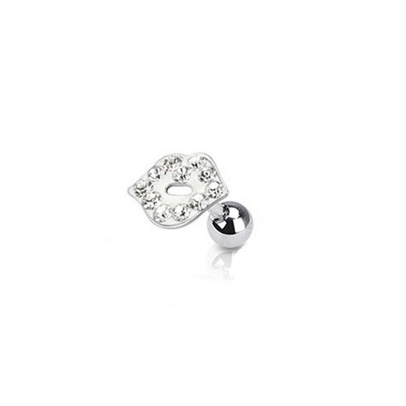 piercing oreille tragus hélix motif lèvre bisou cristal de couleur blanc