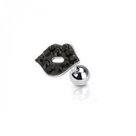 piercing oreille tragus hélix motif lèvre bisou cristal de couleur noir