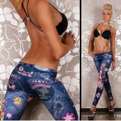 Leggins Jeans clair Hippie chic pour femme