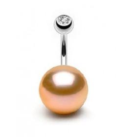 Piercing nombril perle de culture ronde couleur rose de 12 mm type AA+